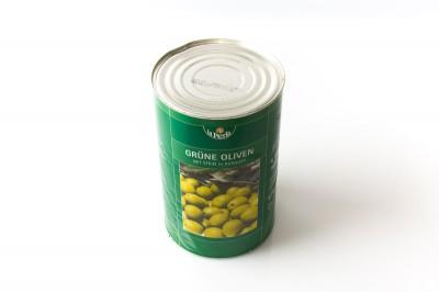 Eingelegte Grüne Oliven mit Kern in Aufguss   Artikelnummer4006795317114 Verpackungseinheit4,1 kg