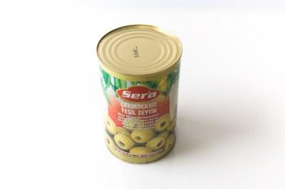 Eingelegte grüne Oliven ohne Kern   Artikelnummer8690777220033 Verpackungseinheit3,9 kg