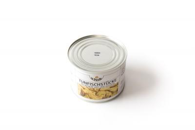 Eingelegte Thunfischstücke in eigenem Saft & Aufguss   Artikelnummer40067955384123 Verpackungseinheit1,205 kg