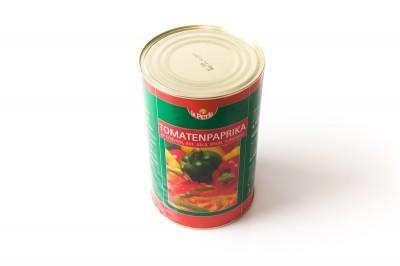 Eingelegte Tomatenpaprika in Streifen Rot,Gelb,Grün   Artikelnummer4006795831115 Verpackungseinheit4,1 kg