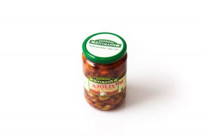 Eingelegte Dittmann Knoblauchzehen in Chilli Marinade   Artikelnummer4002239666800 Verpackungseinheit650 g